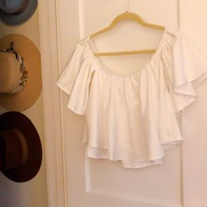 Shein off the shoulder flowy cropped blouse